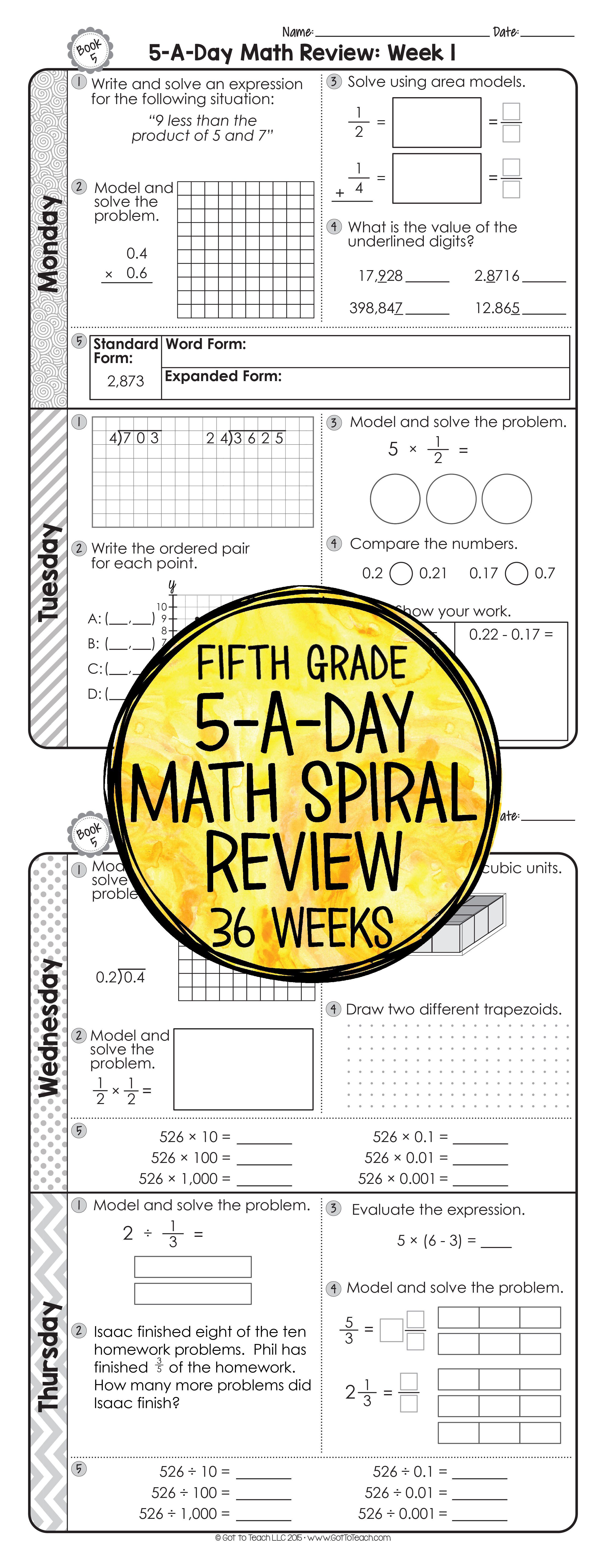 5th Grade Daily Math Spiral Review Morning Work Editable Teacher