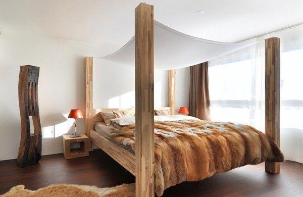 Schon Design Ideen Für Himmelbetten Pelz Holz Balken