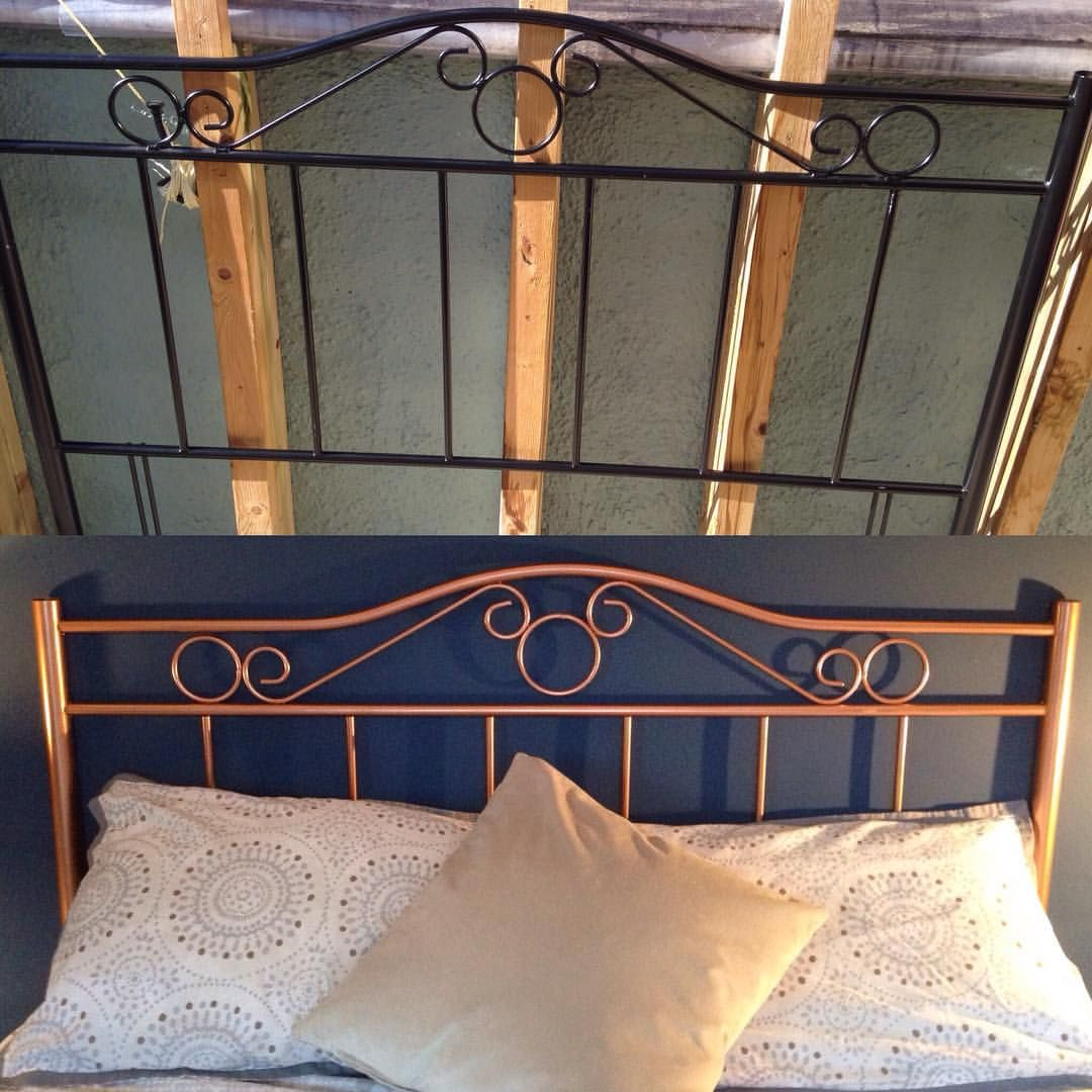 I Used A Copper Spray Paint To Up Cycle And Totally Transform My Old Headboard It Now Complements My Bedroom Per Copper Spray Paint Old Headboard Copper Spray