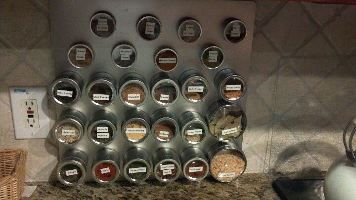 Home Made Spice Rack Magnetic Board From Wal Mart Jars