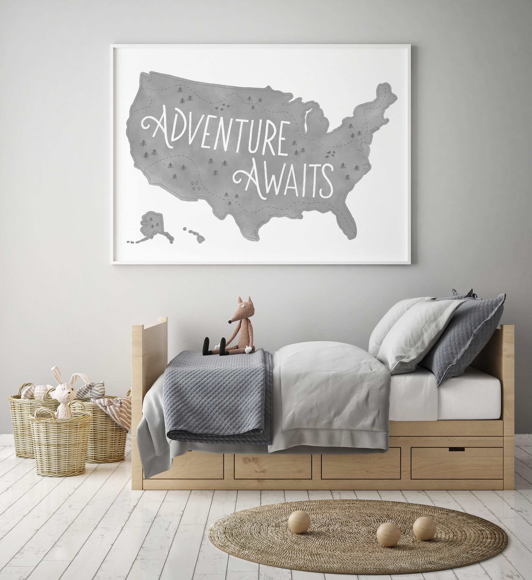 Travel Themed Bedroom For Seasoned Explorers: Gray US Map Print, Adventure Awaits, Printable Wall Art