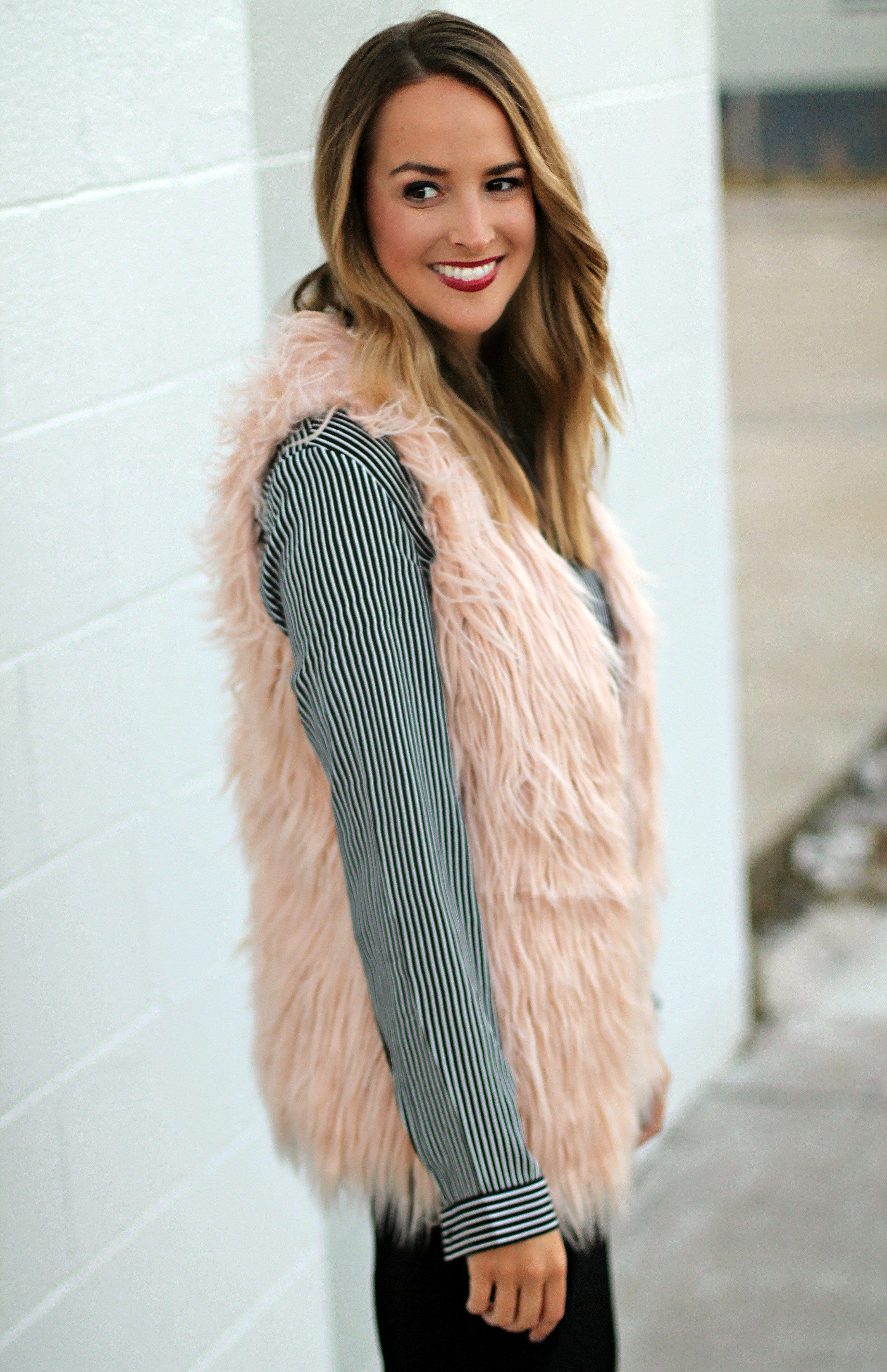 b8e559a94836c Pink Faux Fur Vest Faux Fur For The Holidays  fallstyle  fallfashion   styleideas  styleinspiration  outfit  outfitideas  casualoutfit   falloutfit ...