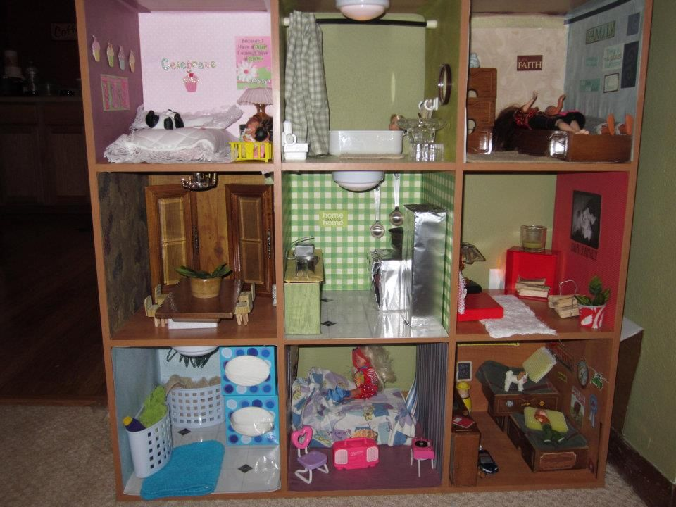 Doll House Made From An Old Shelf Bought At Goodwill