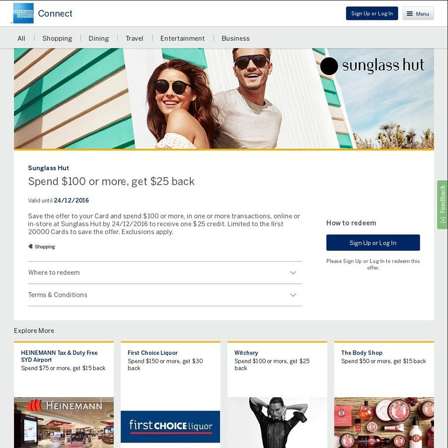 4a4794483f AmEx Statement Credits  Sunglass Hut (Spend  100 Get  25) + Stack with  Other Deal for 30% off + CashRewards 10% Cashback