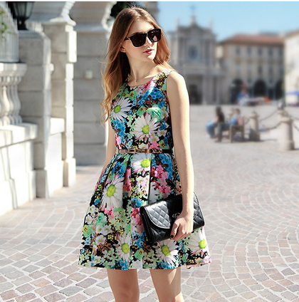2015 Spring New Printing Sleeveless A-Line Dress--Green on Luulla