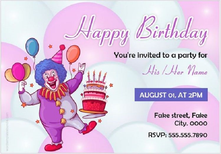 Happy Birthday Invitation Card With Name And Photo
