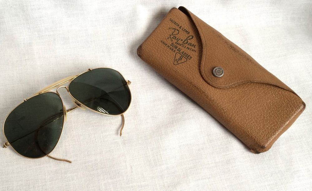 023f12946f Vintage Bausch   Lomb Ray Ban Sunglasses Aviator Green 1 10 12K GF With  Case  RayBan  Aviator