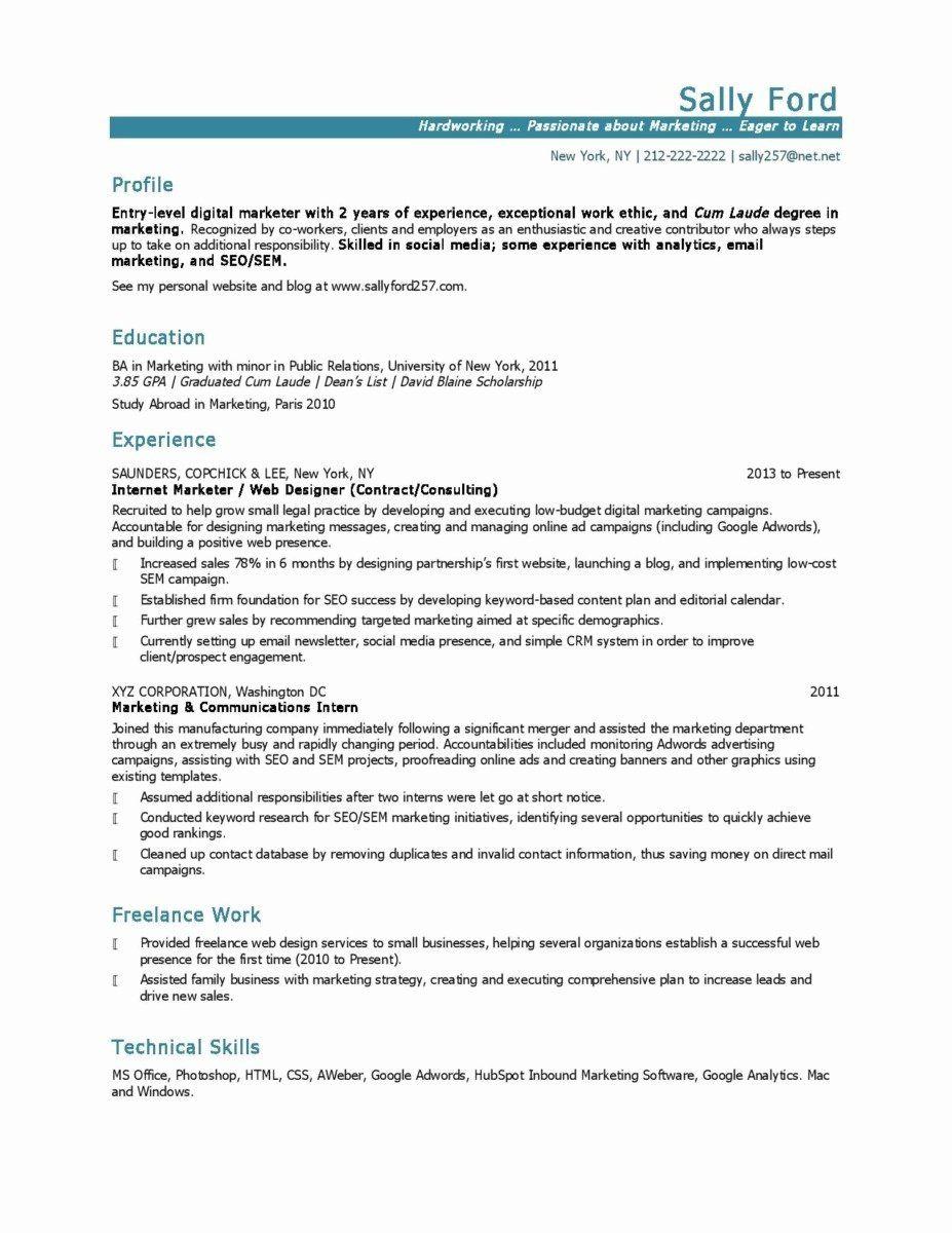Social Media Resume Example Inspirational 11 12 Entry Level Social Media Resume Sample Marketing Resume Job Resume Examples Social Media Business Plan