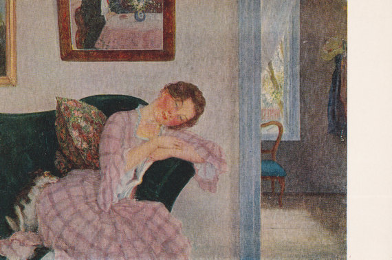 K. Somov Sadness Postcard 1971 by RussianSoulVintage on Etsy