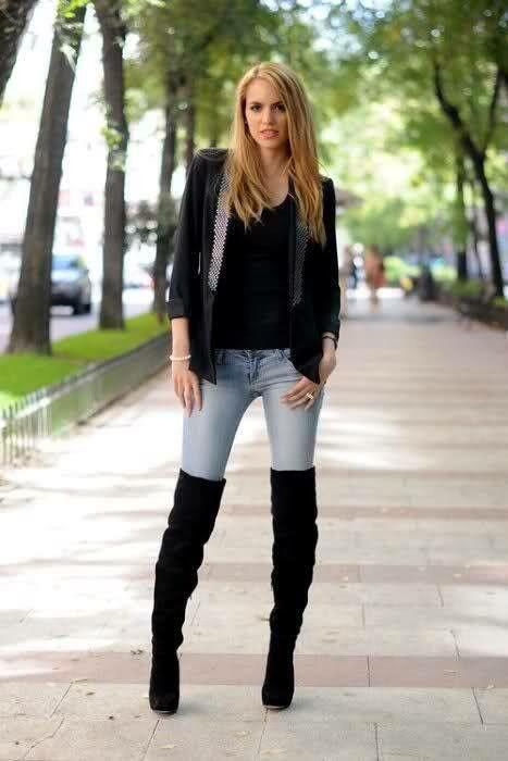 452846e6 Jeans y botas largas 2 | Botas invierno | Botas largas, Jeans y ...