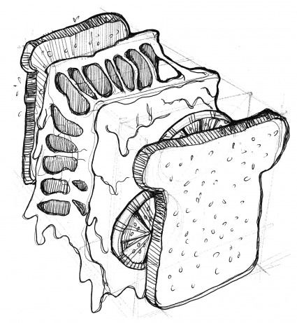 Exploded drawing of a cheese and tomato toastie by Krystal Persaud.