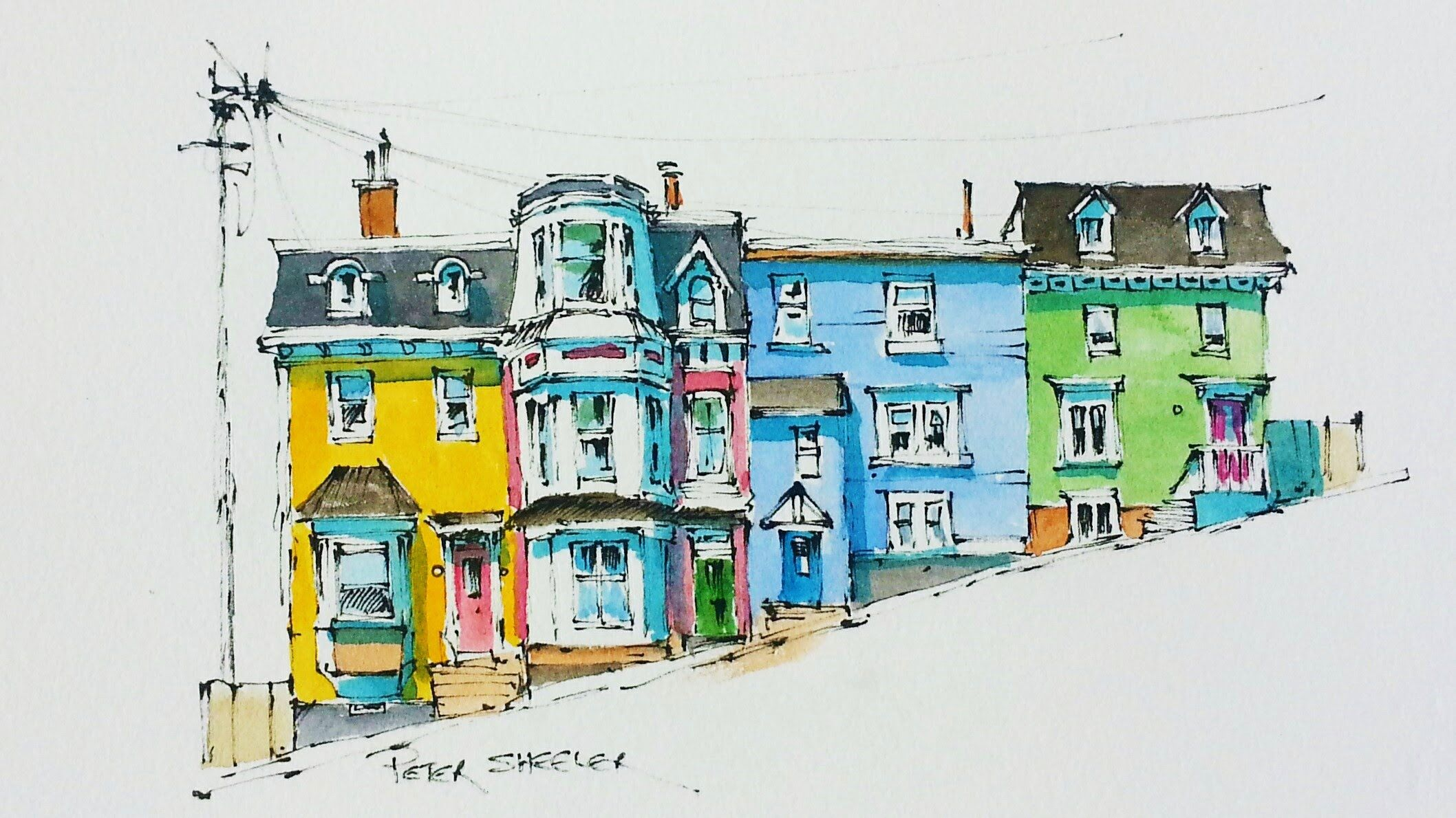 A Pen And Wash Watercolor Of Brightly Coloured Row Houses Known