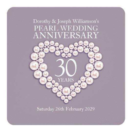 Pearl Wedding Anniversary 30 Years Party Invites Marriage Gifts