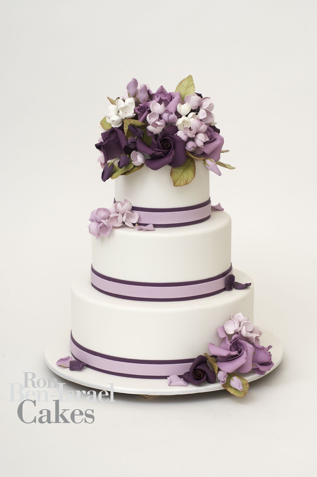 Ron Ben-Israel Cakes - five tier white wedding cake with classic fl ...