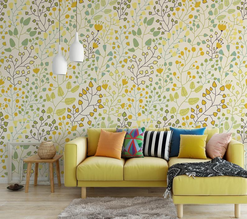 Green Leaves Yellow Floral Removable Wallpaper Nursery Decor Decal Peel And Stick Wallpaper Temporary Self Adhesive Fabric Wallpaper Removable Wallpaper Nursery Nursery Wallpaper Removable Wallpaper