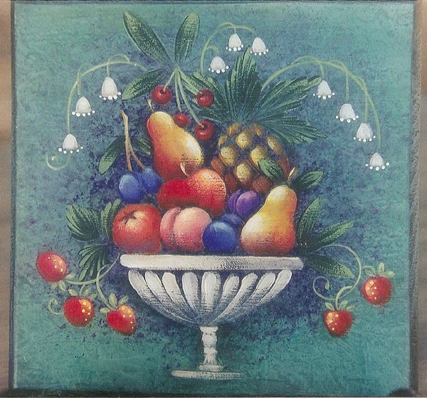 Bowl Of Fruit On Boxes Pattern By Rosemary West Painting