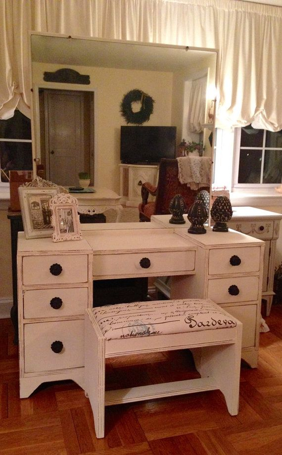 SOLD Vintage Art Deco Vanity/Dressing Table Hand Painted In Annie Sloan Old  White Distressed