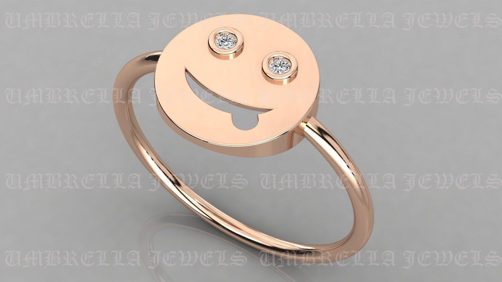 Mood Ring Smiley Face Ring Happy Face Ring Flip Ring Etsy In 2020 Emoji Ring Emoji Jewelry Mood Ring