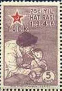 Turkiye stamp 1946, Doctor Examining Infant (Children's Aid Association, 25 Years)