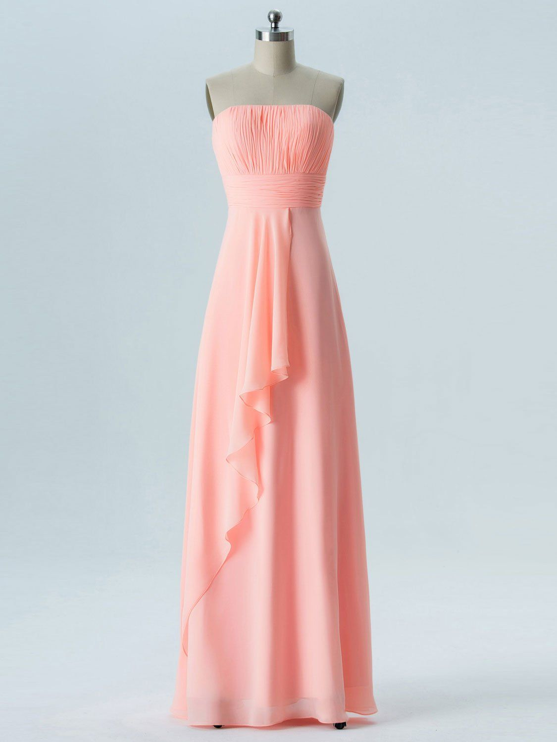 A-line Straight Across Floor-Length Chiffon Bridesmaid Dresses 2863