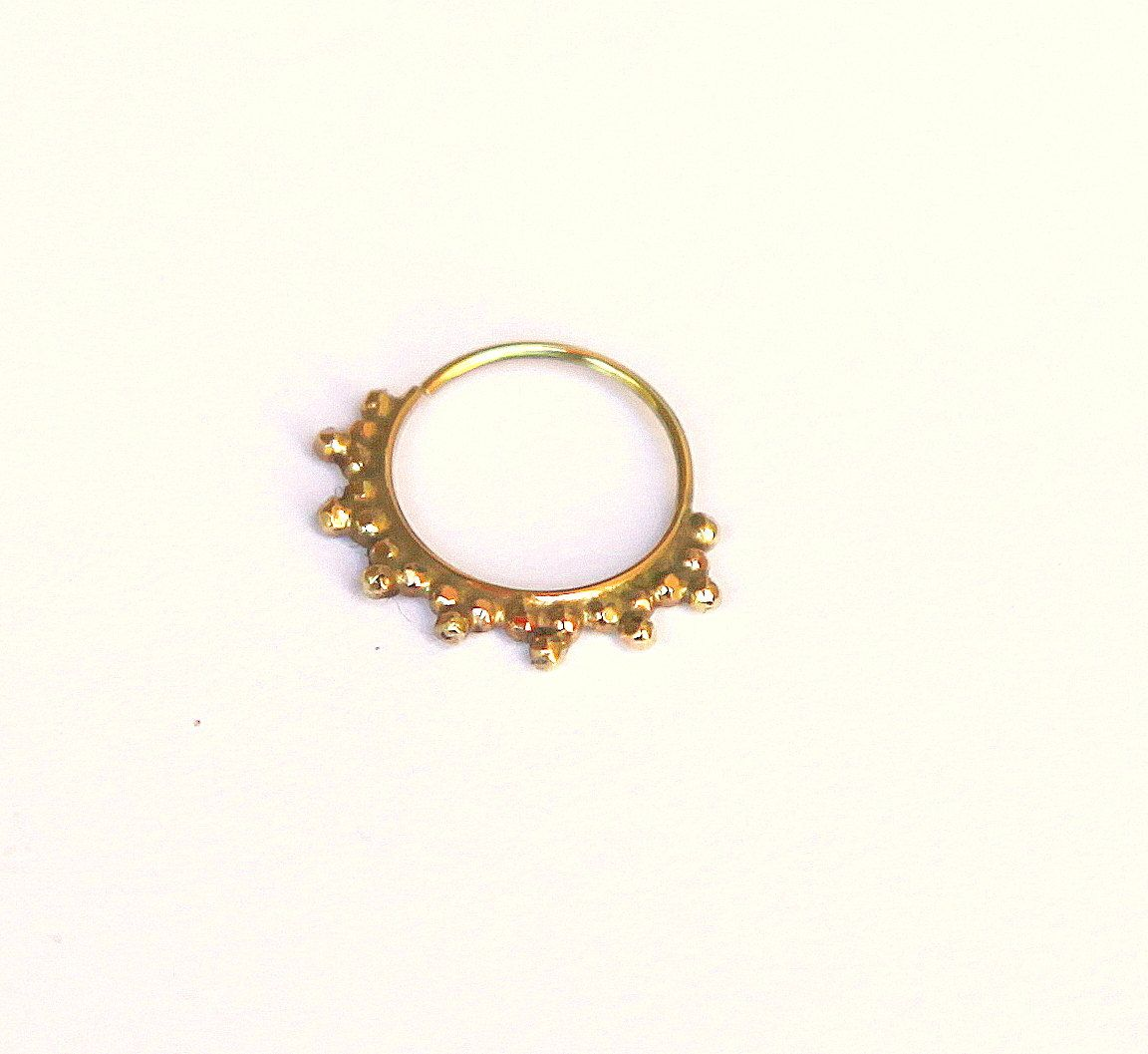 Gold nose piercing  SEPTUM JEWELRY  nose ring  Primitive Gold nose ring  karat