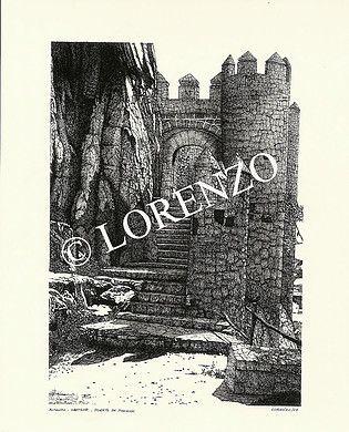 Almansa Castillo Puerta Norte Dibujo A Plumilla Sobre Papel Dibujo A Pluma Plumas Sobres De Papel