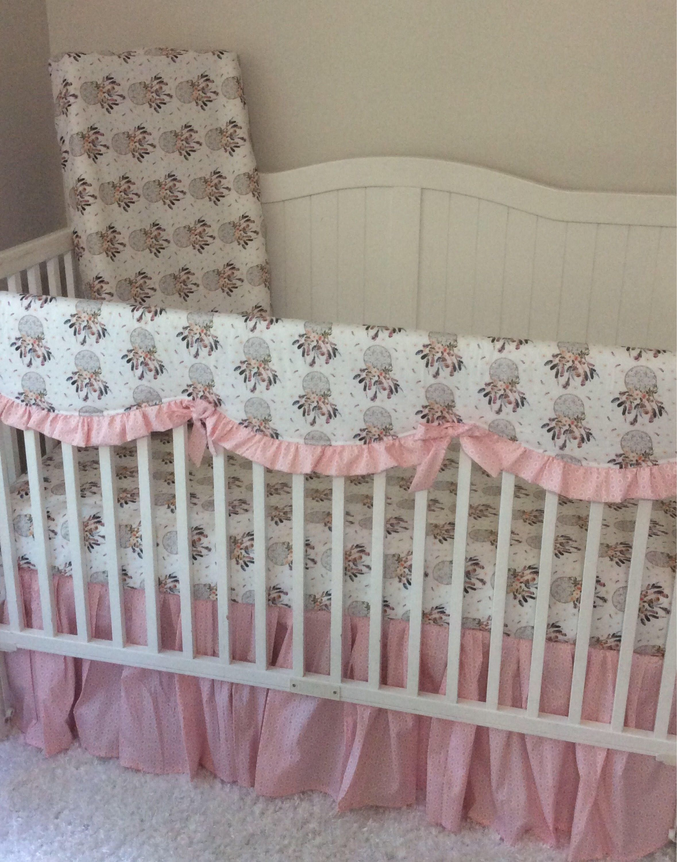 coral dots peach dot products set mollys s crib bedding daybed cribs ruffle gold molly baby and