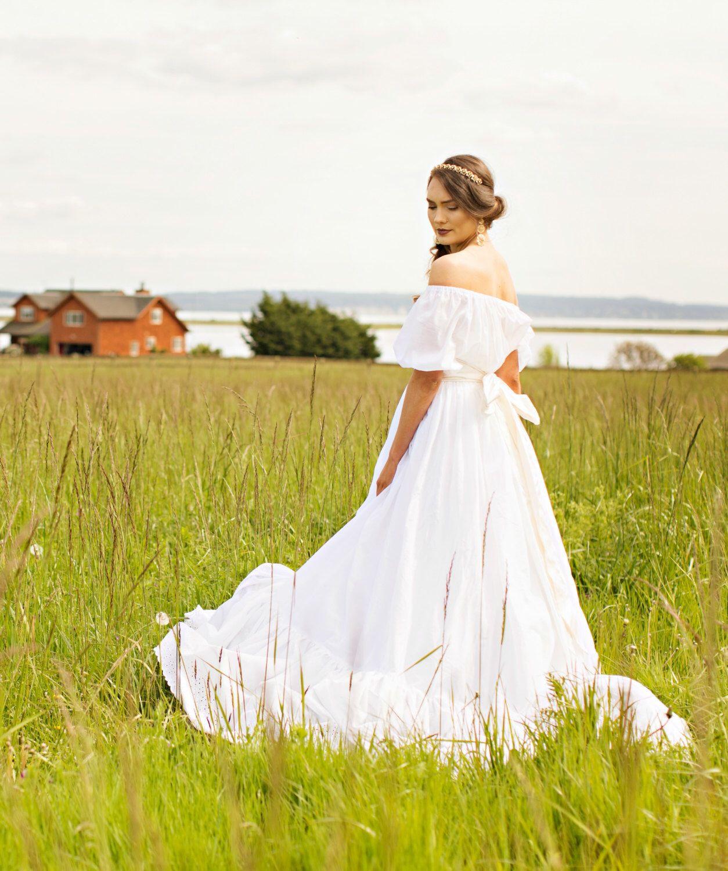 Cotton boho wedding dress off shoulder sheer cotton katrina