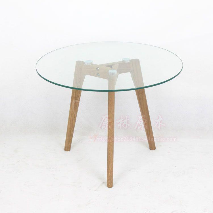 mesa redonda madera y vidrio buscar con google