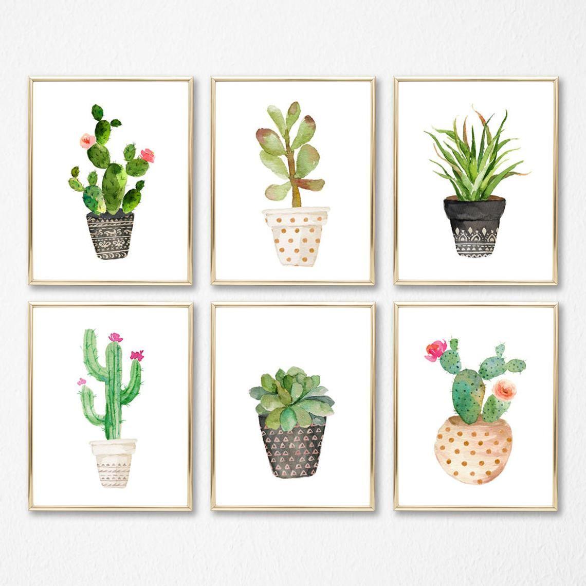 Photo of Set of 6 Cute Cacti Watercolor Digital Print Instant Art INSTANT DOWNLOAD Printable Wall Decor Nursery Room, girl room, boy room