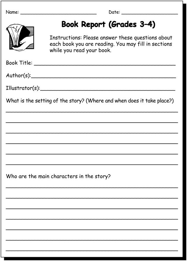 Book Report 3 4 Practice Writing Worksheet For 3rd And