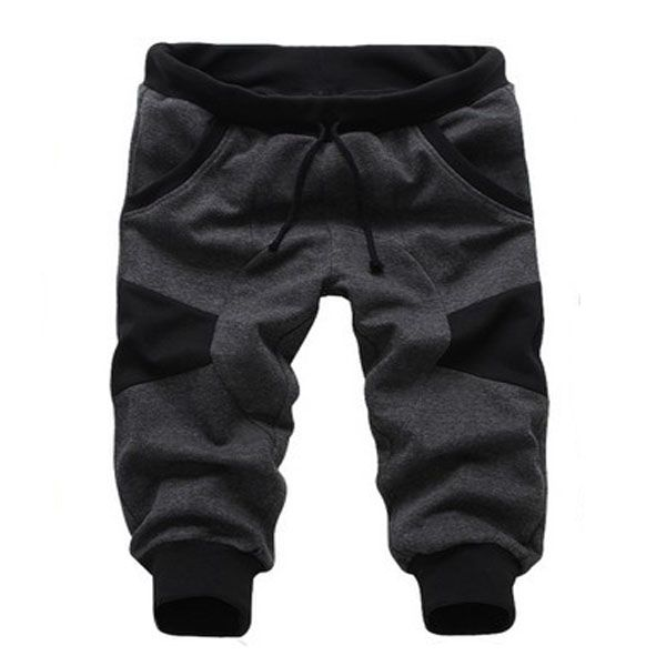Mens pantalones deportivos cortos casuales de empalme coreano