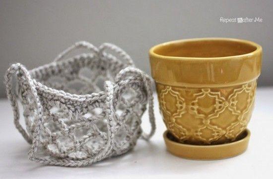 Crochet Flower Pot Hanging Basket FREE Pattern ༺✿Teresa Restegui✿༻