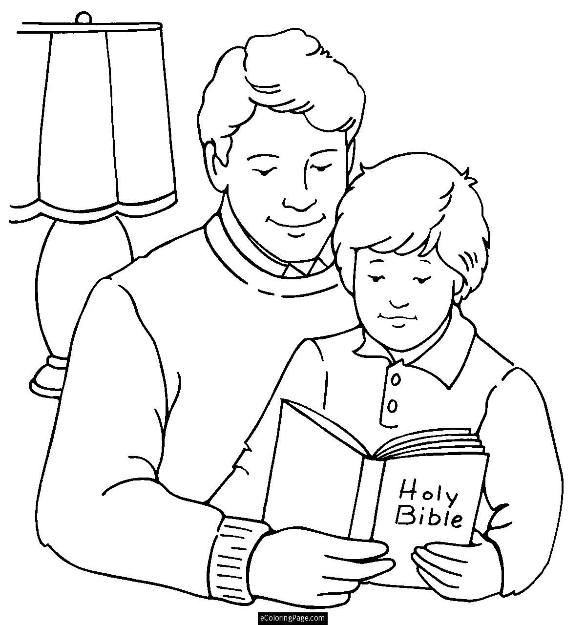 Father And Son Reading The Bible Coloring Page For Kids Printable