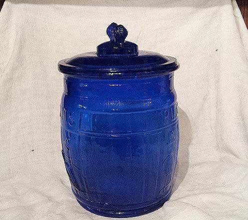 Vintage Cobalt Blue Glass Planters Peanut Large Cookie Jar With Lid 45 00 Via Etsy With Images Blue Planter Blue Glassware Cobalt Glass