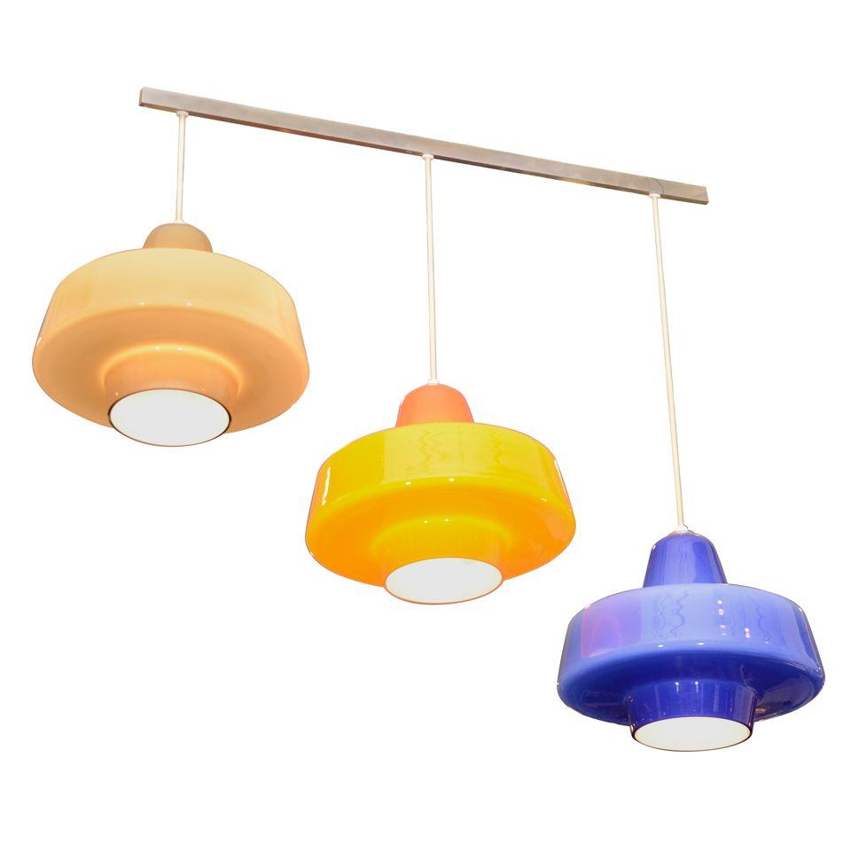 Set of glass pendants mfg herman miller herman miller glass