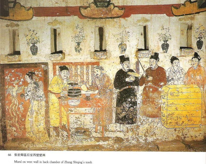 Mural on west wall in back chamber of Zhang Shiqing\'s tomb. Xuanhua ...
