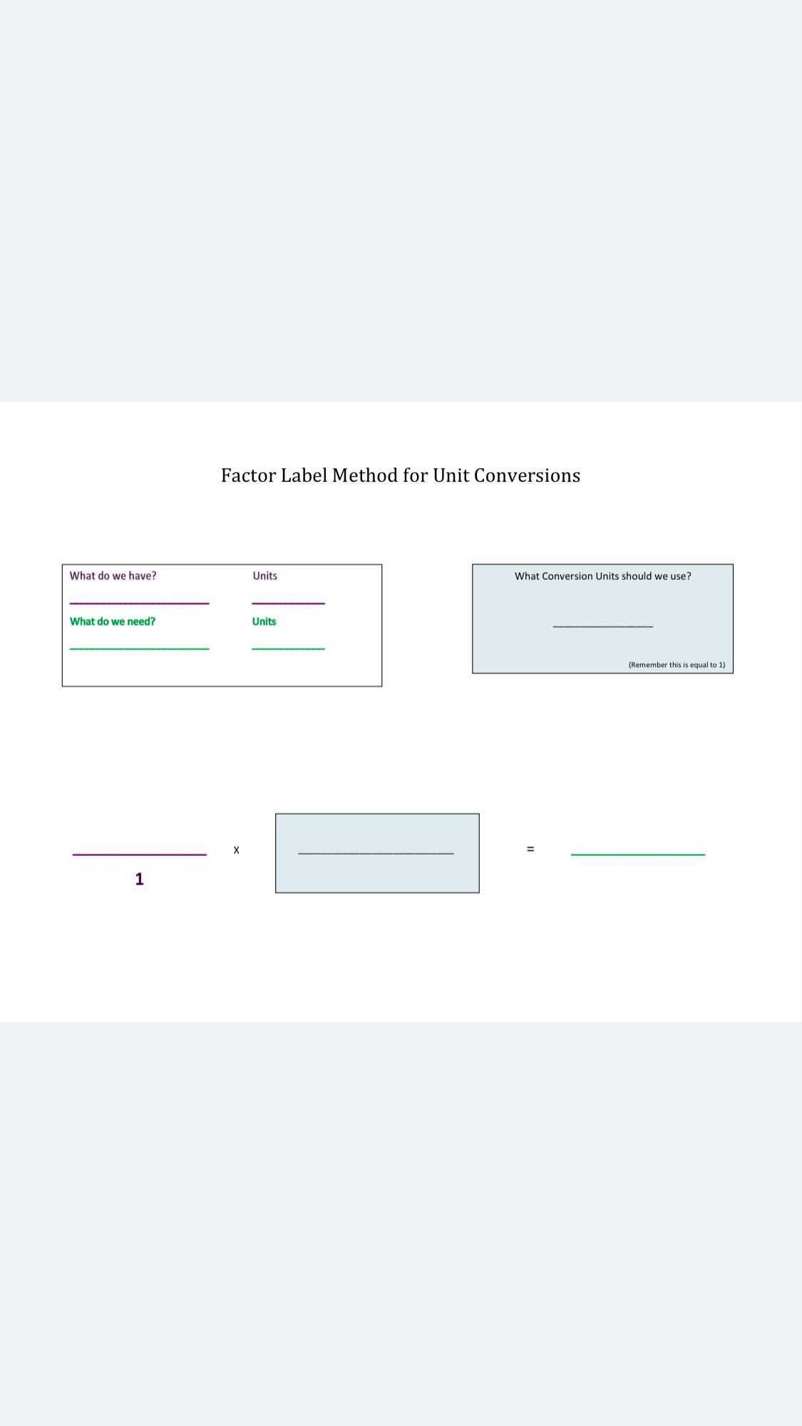 Factor Label Method For Unit Conversions