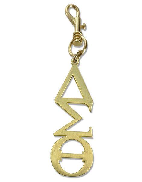 Delta Sigma Theta Greek Symbol Handbag Charm Keychain GOLD