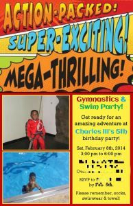 Action Packed Gymnastics Swim Party Invitation For A 5 Year Old Boy