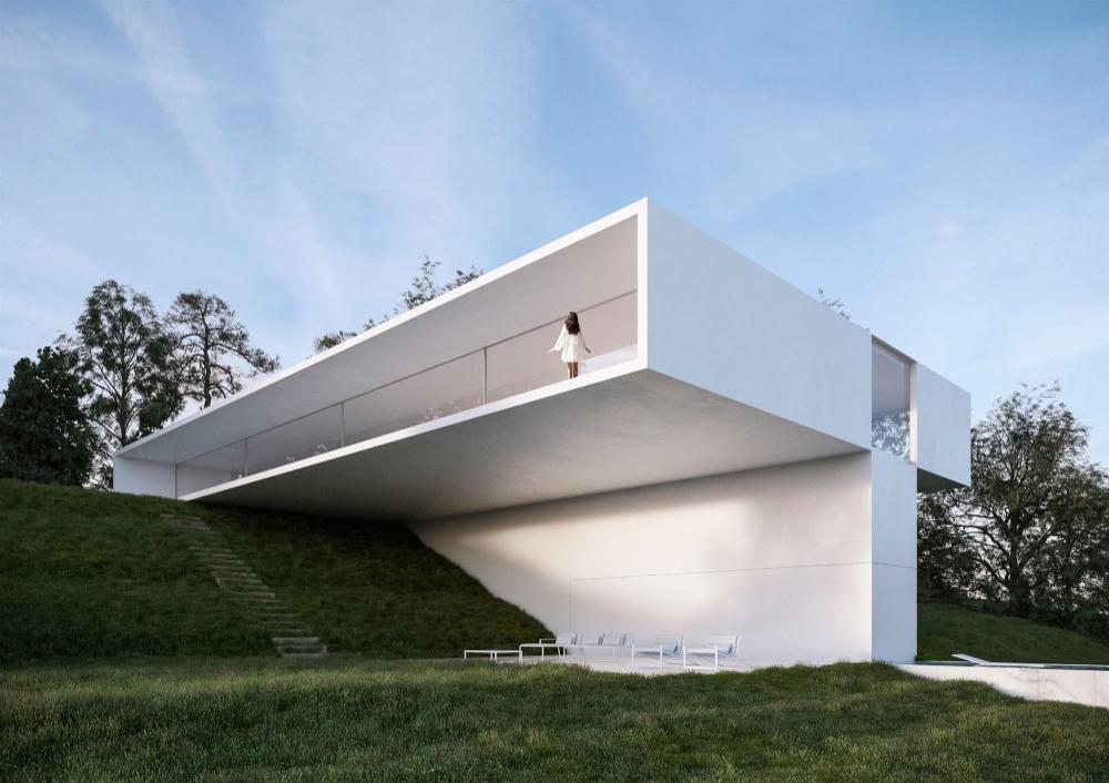 Así viven los dueños de esta impresionante casa en forma de T
