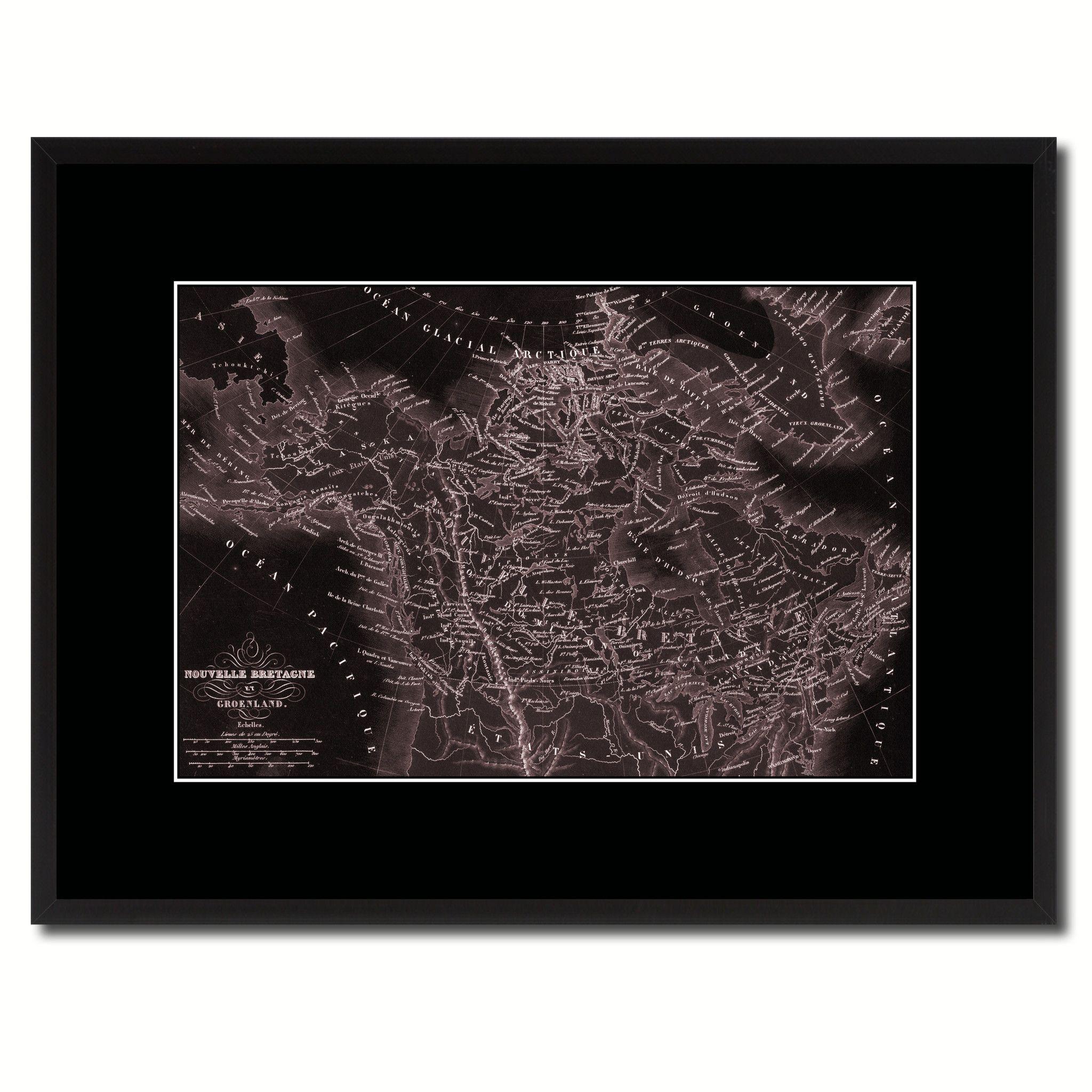 Canada Alaska Vintage Vivid Sepia Map Canvas Print, Picture Frames ...