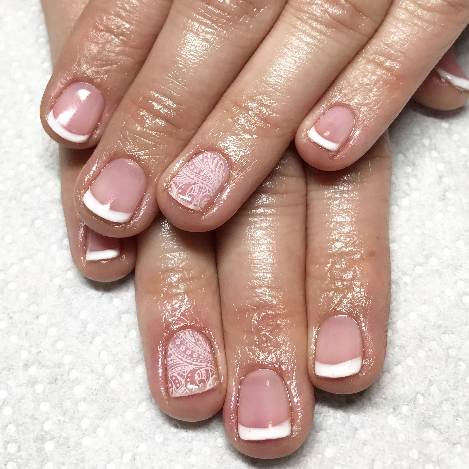 French Manicure Pink And White Nails Gel Short Natural Spring Summer Simple
