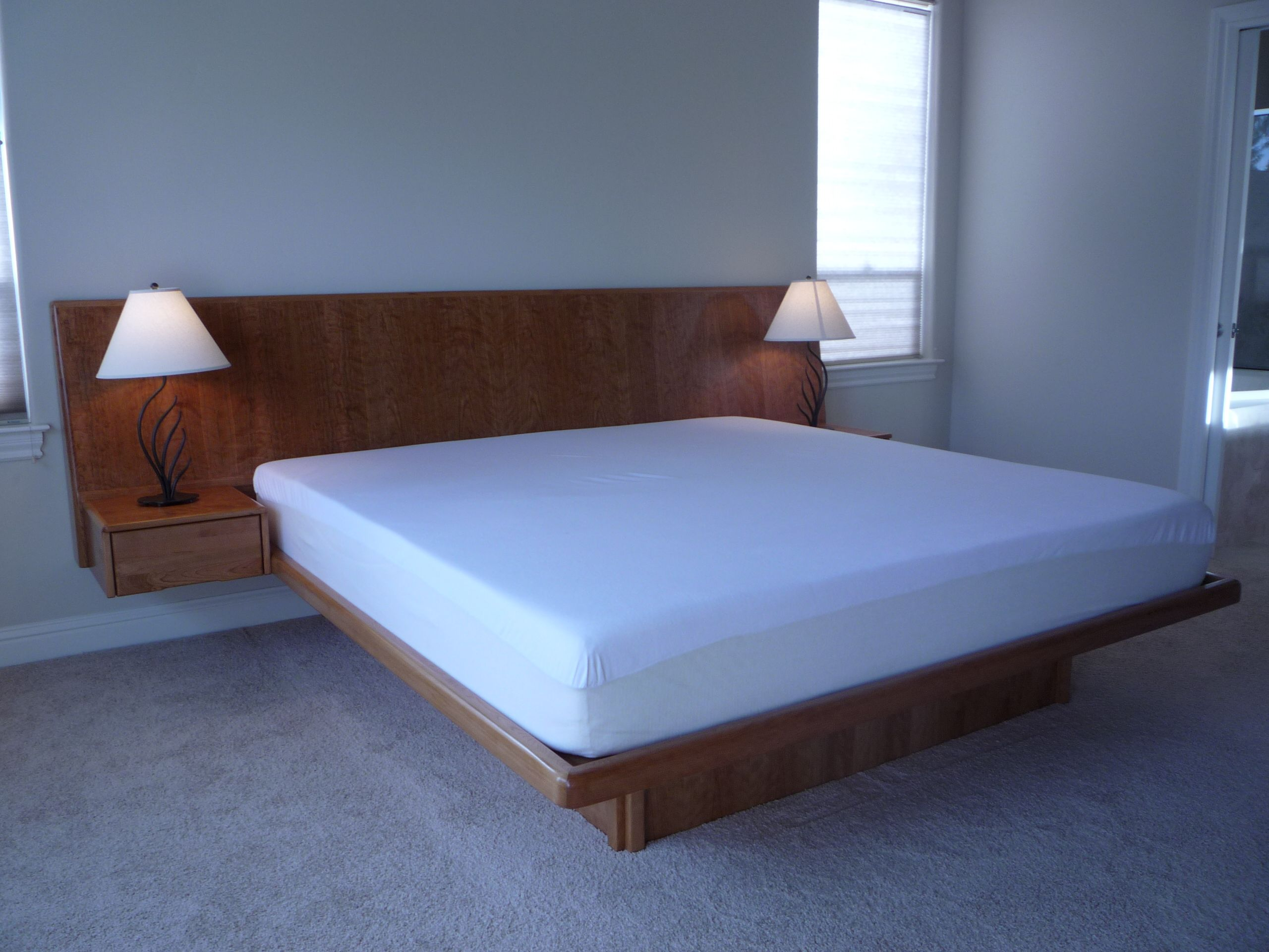 Cherry Floating Platform Bed With Slant Back Headboard