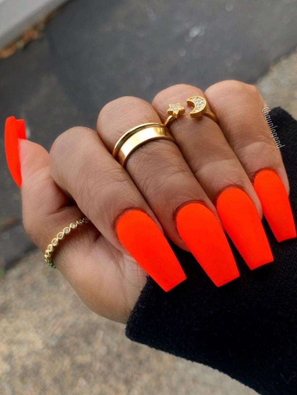 nails colors matte nails nails design Orange nail art