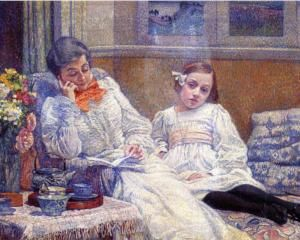 Madame Theo van Rysselberghe and Her Daughter - Theo van Rysselberghe