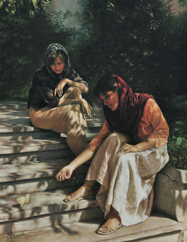 Shahrad Malek-Fazeli Feeding a Chicken  Oil on Canvas  33.5 x 43 inches