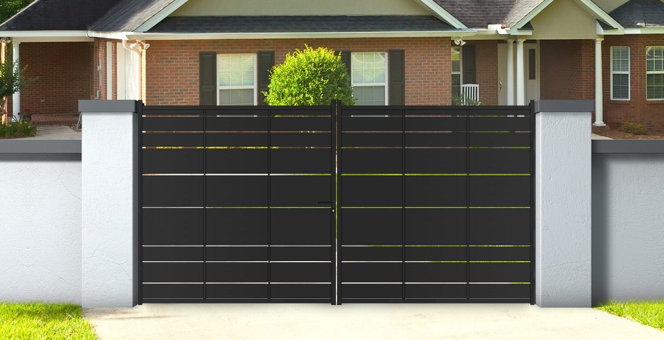 portail double battants en fer noir aloes 3 m tres hauteur 1 82m gate gates and fences. Black Bedroom Furniture Sets. Home Design Ideas