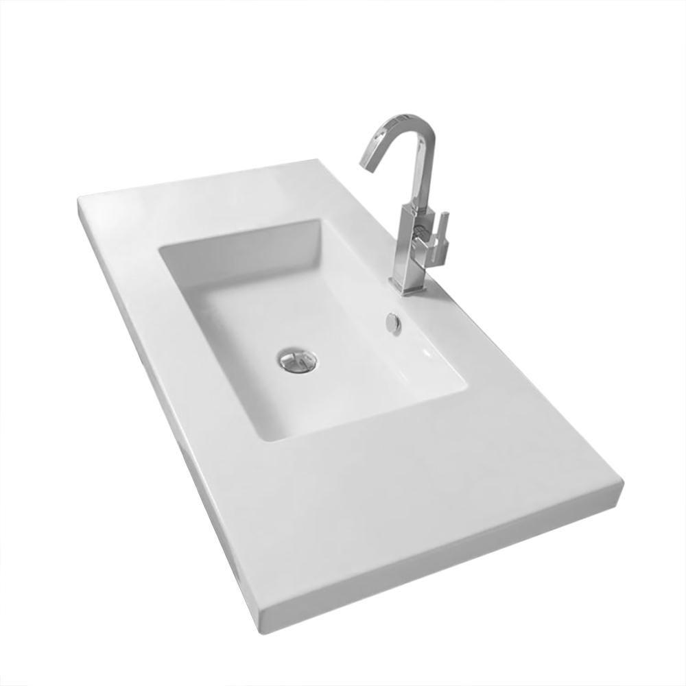 Nameeks Mars Wall Mounted Ceramic Bathroom Sink In White Tecla