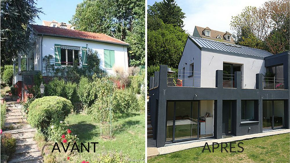 Avant apr s agrandir une maison par le biais d une extension contemporaine m6 decoration - Maison avant apres renovations exterieures ...